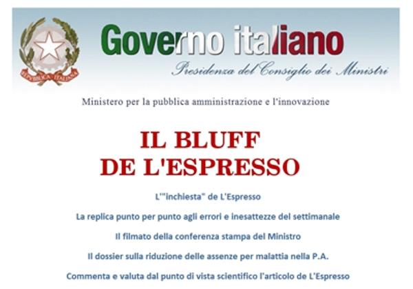 La home page del sito del Ministero della PA